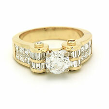 GIA 2.93 Carat total Princess, Baguette and Round Cut Diamond Engagement Ring