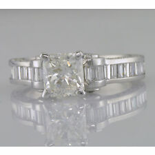 EGL Certified Diamond Engagement Ring 2.75 Carat Princess Round Baguette Cut