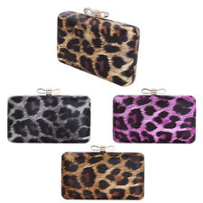 Elegant Leopard PU Leather Crystal Bow Top Hard Clutch Evening Bag Handbag