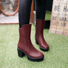 Women's Simple Style Kitten Heels Platform PU Leather Zipper Ankle Boots Shoes