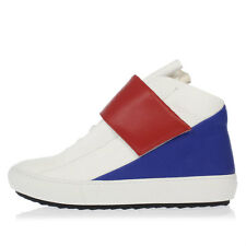 PIERRE HARDY New White Blue Leather Shoes Sneakers Made in Portugal