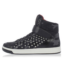 PRADA New Men Black Camouflage Studded High Sneakers Shoes NWT