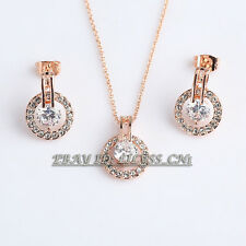 A1-S137 Fashion Rhinestone Stud Earrings Necklace Jewelry Set 18KGP Crystal