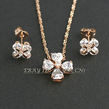 A1-S138 Fashion CZ Flower Stud Earrings Necklace Jewelry Set 18KGP Crystal