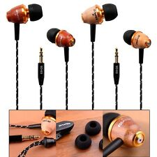Wooden In Ear Super Bass Headphones Earphone Earbuds Headset For Cell Phone MP3