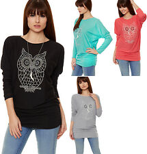 New Womens Knit Stretch Necklace Owl Sequin Print Long Sleeve Ladies Batwing Top