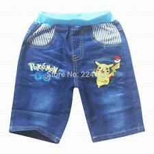 New Cartoon  Girls shorts Boys Denim Jean size.3.4.5.6.7 Pokemon Go Pikachu