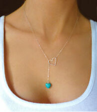 Cute Hot blue Love heart Charm Pendant Necklace Gold silver Tone Turquoise Stone