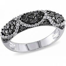 3/4 Carat T.W. Black and White Diamond Sterling Silver Fashion Ring. Free Delive