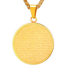 Round Tag 316L Stainless Steel Pendant Cross Necklaces 18K Gold Plated Jewelry