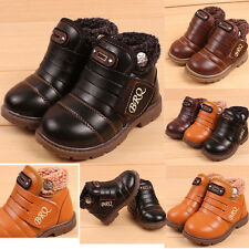 BRQ Infant Toddler Baby Girls Boys Kids Winter Thick Snow Boots Leather Shoes