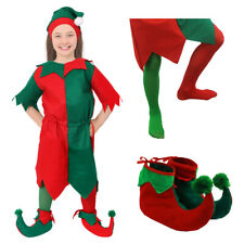 GIRLS ELF COSTUME CHRISTMAS FANCY DRESS OPTIONAL ACCESSORIES CHILDS XMAS S-XL