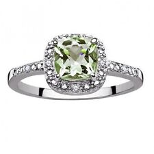Sterling Silver Green Amethyst and Diamond Ring. Best Price