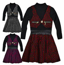 Girls Dress New Kids Long Sleeved Polo Neck Waistcoat Party Dresses 2-10 Years
