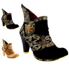 Womens Irregular Choice Miaow Leather Mid Heels Evening Ankle Boots US 5.5-11.5