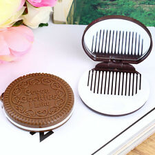 2 in 1Folding Pocket Chocolate Cookie Shaped Makeup Cosmetic Compact Mirror