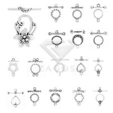 20-150pcs Retro Tibetan Silver Bar & Ring Toggle Clasps Hooks Jewelry Findings