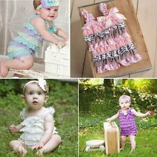 Newborn Infant Baby Girls Lace Posh Petti Ruffle Rompers TUTU Baby Clothes 0-3Y