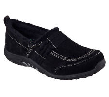 49300 BLK Black Skechers Shoe Memory Foam Women Soft Suede Loafer Comfort Slipon