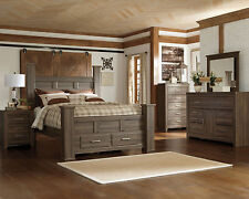 Ashley Juararo Bedroom Set Queen or King Bed Dresser Mirror NS Brown Rustic Oak
