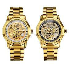 Men Luxury Skeleton Dial Automatic Mechanical Watch Gold Steel Wristwatches M7R7