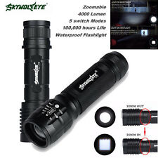 Zoomable 4000 LM CREE XM-L T6 LED 18650 waterproof  Flashlight Torch Lamp Light