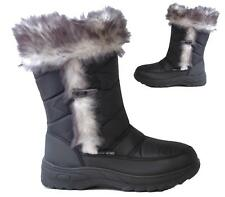 Ladies Flat Fur Lined Toggle Grip Sole Mid Calf Winter Ski Snow Boots Size