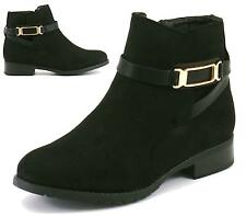 Ladies Womens Ankle Block Heel New Chelsea Riding Faux Suede Biker Boots Shoes S