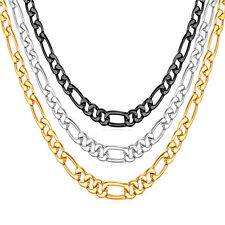 316L Stainless Steel/Black  Figaro Chain Necklace Men's 18K Gold Plated Jewelry