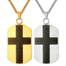 New Cross Stainless Steel Dog Tag Pendant Necklaces 18K Gold Plated Men Jewelry