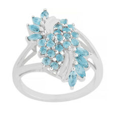 925 sterling silver faceted sky blue topaz gemstone round shape 2 mm ring X MAS