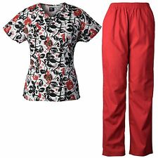 MedGear Womens Scrubs Print Top & Pants Set, Medical Uniform, Nurse Uniform