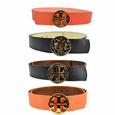 "New Tory Burch Reversible 1 1/2"" Classic Tory Logo Belt Orange Luggage"