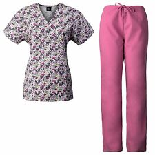 MedGear Womens Scrubs Print Top & Pants Set, Medical Uniform, Nurse Uniform FPNK