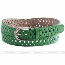 Hollow Faux Leather Belt Alloy Pin Buckle Waistband Jeans 51'' Waist Strap Green