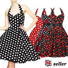 Womens Vintage 1950s 60s 40s Dress Floral Halter Style Rockabilly Swing Dresses