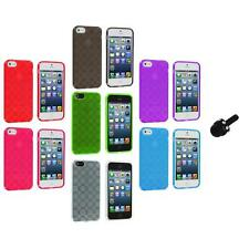 Color Circles TPU Rubber Jelly Skin Case Cover+Mini Stylus for iPhone 5 5S 5th