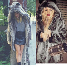 Women Lady Hooded Faux Fur Parka Warm Long Coat Jacket Hoodie Outwear Overcoat