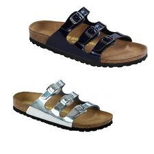 Birkenstock Florida Metallic Mens Womens Sandals Birko-Flor Steel Silver / Blue