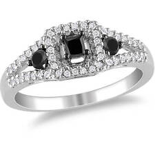 1/2 CaratT.W. Black & White Diamond Princess-Cut SterlingSilver,3-Stone HaloRing