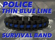 Police Thin Blue Line 550 Paracord Survival Bracelet Band w/ Side Release Buckle