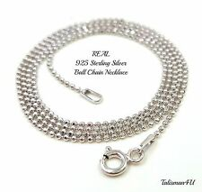 REAL SOLID 925 Sterling Silver Italy Bead Ball CHAIN NECKLACE Diamond Cut 1 mm