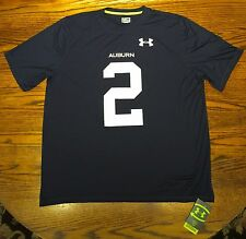 Auburn Tigers Under Armour #2 Cam Newton Heatgear Loose Fit Tee NWT (Navy)