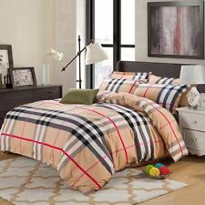Classic Checkered Burberry Patterned Style  4 Piece Quilt/Bed Set