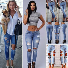 Women Ladies Destroyed Distressed Ripped Slim Denim Pants Jeans Stretch Trousers