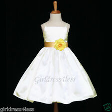 IVORY/YELLOW STRAPS PARTY CHORUS BABY FLOWER GIRL DRESS 12M 18M 2 4 6 7/8 10 12