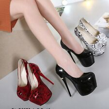 Sexy Club Stilettos Slim High Heel PU Platform Women Shoes Snakeskin Party Pumps