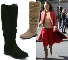 WOMENS LADIES FLAT HEEL SLOUCH ZIP ON KNEE HIGH BOOTS SHOES SIZE