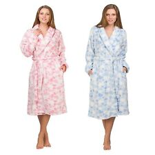 New Luxury Hearts Ladies Soft Long Fleece Bath Robe Dressing Gown House Coat