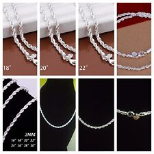 US-Fashion Jewelry UNISEX Royal 925 Sterling Silver Necklace Chain18,20,22, 24MM